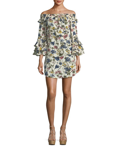 Amal Floral-Print Off-the-Shoulder A-Line Dress