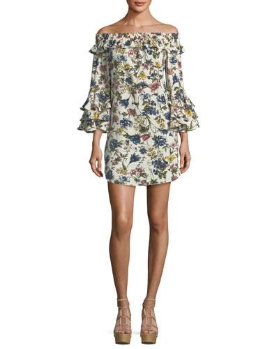Amal Floral-Print Off-the-Shoulder A-Line Dress