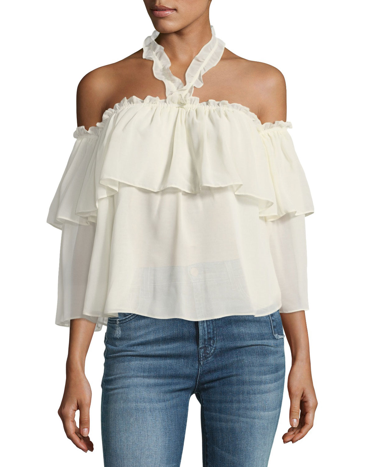 Galle Off-the-Shoulder Ruffled Chiffon Top