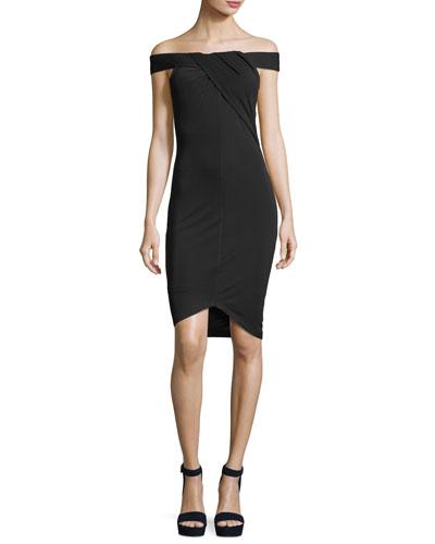 Off-the-Shoulder Crossover Crepe Dress