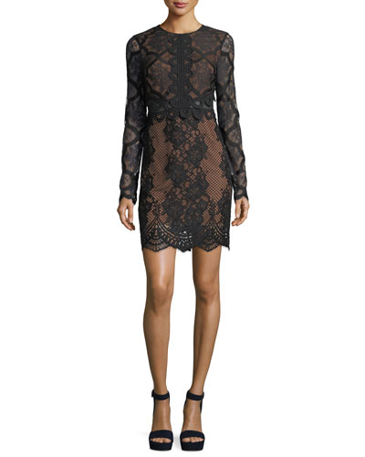 Jewel-Neck Long-Sleeve Lace Cocktail Dress