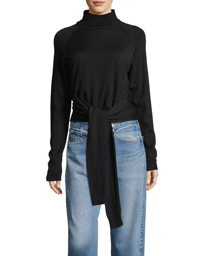 Tie-Front Long-Sleeve Turtleneck Sweater
