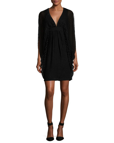 Velvet Grid Burnout V-Neck Cocktail Dress