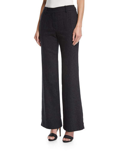 Wide-Leg Speckled Wool-Silk Trousers