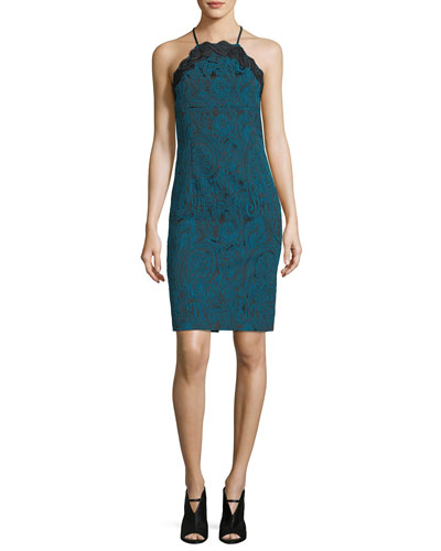 Arlen Sleeveless Halter Paisley Jacquard Cocktail Dress