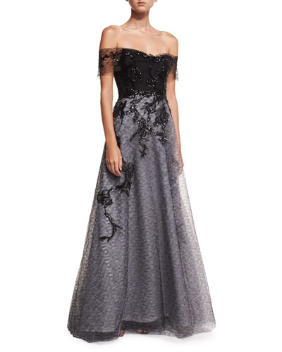 Off-the-Shoulder Organza Embellished Gown