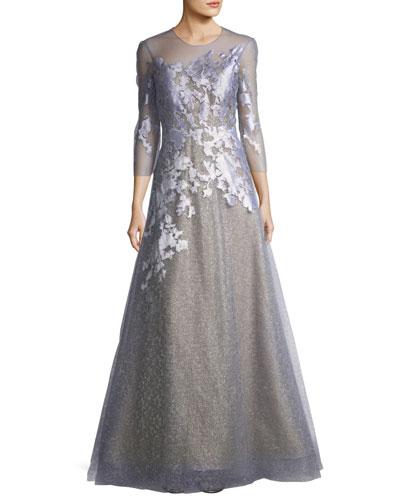 Rene Ruiz Jewel Neck Organza Metallic Evening Gown In Slate Blue