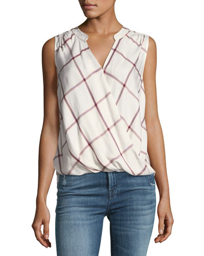 Reily Plaid Sleeveless Surplice Top