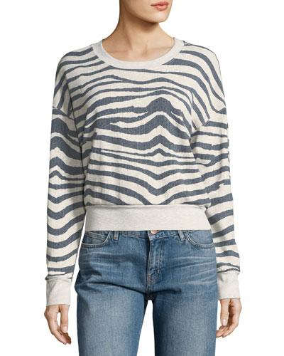 Zebra-Print Cropped Sweatshirt