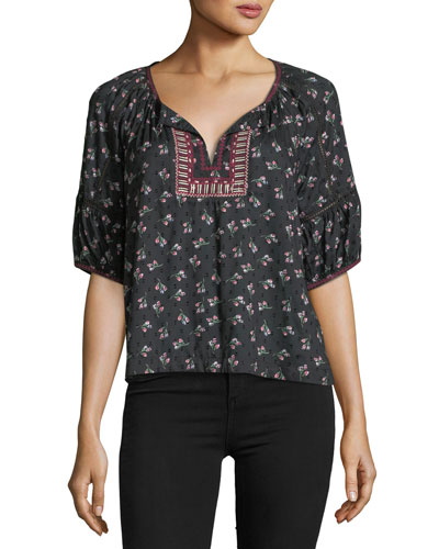 Florica Split-Neck Floral-Embroidered Top
