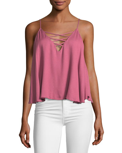Lace-Up Sleeveless Swing Cami Top