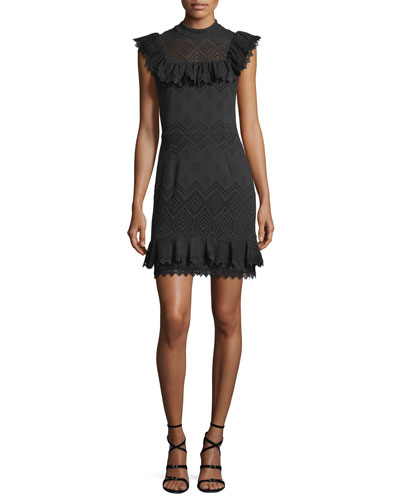 Justina Sleeveless Perforated Ruffled Dress
