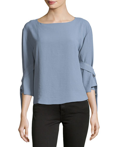 Tie-Sleeve Boat-Neck Blouse