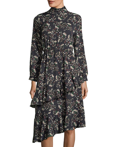 Frill-Trim Floral-Print Dress