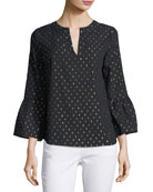 Bell-Sleeve V-Neck Blouse