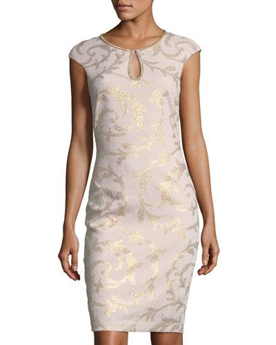 Scroll-Print Keyhole Sheath Dress