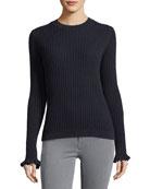 Happy Frill Long-Sleeve Ribbed Merino/Cashmere Sweater