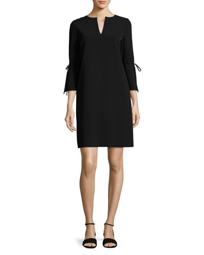 V-Neck Sleek Tech Cloth Dress, Black, Plus Size