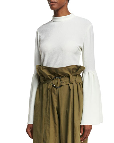 Marta Mock-Neck Trumpet-Sleeve Crepe Blouse