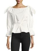 Michelle Tie-Shoulder Cotton Poplin Blouse