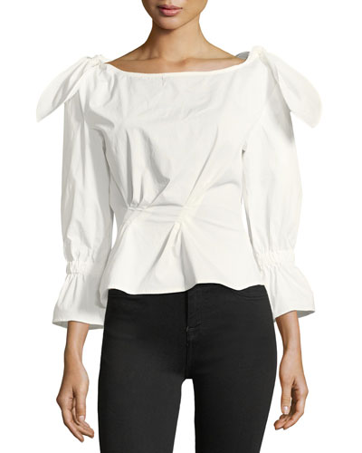 Michelle Tie-Shoulder Cotton Poplin Blouse