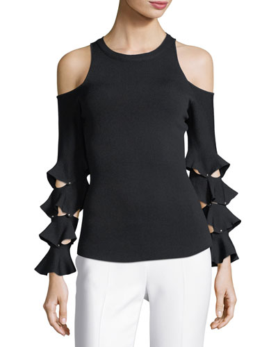 Slashed Ruffle Cold-Shoulder Top
