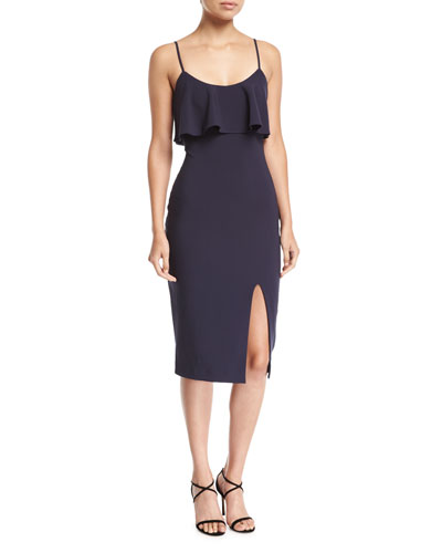 Dionne Sleeveless Scoop-Neck Midi Cocktail Dress