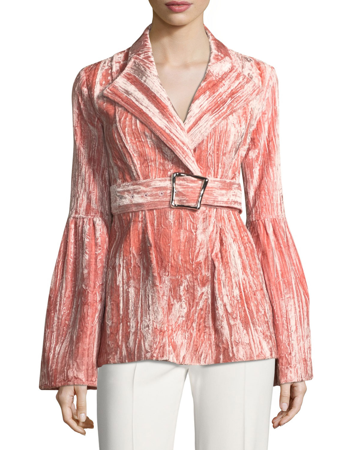Claire One-Button Belted Bonded Velvet Jacket