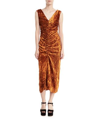 Isabelle V-Neck Ruched Crushed Velvet Midi Cocktail Dress