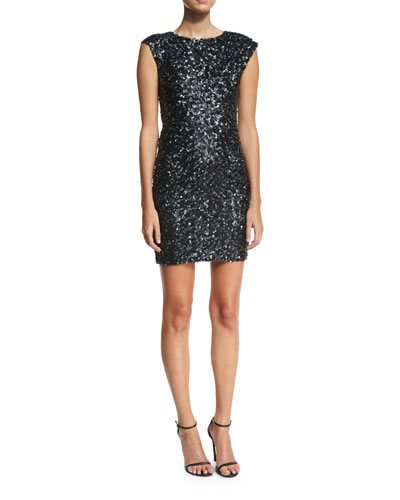 Knott Sequin Cap-Sleeve Cocktail Dress