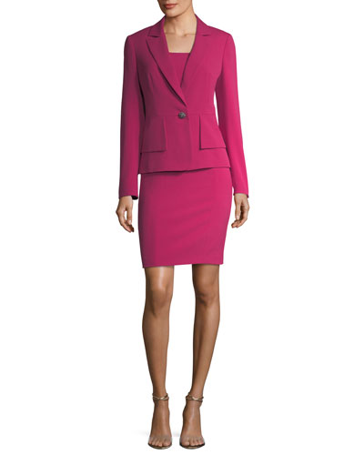 One-Button Crepe Jacket & Sheath Dress Set