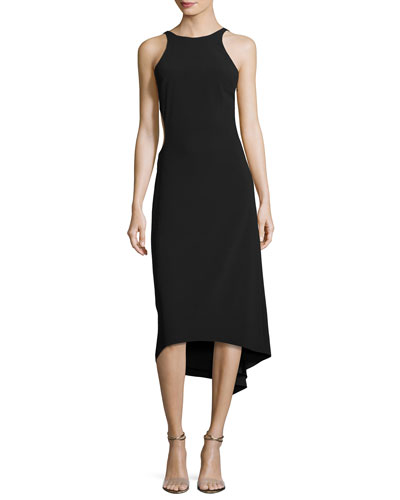 Sleeveless High-Neck Crepe Cocktail Dress W/ Cutout