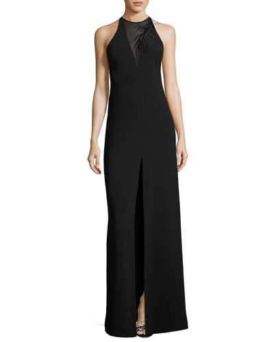 Sleeveless Crepe Column Gown w/ Embroidery Detail