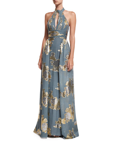 Metallic Shirred Keyhole Evening Gown w/ Train