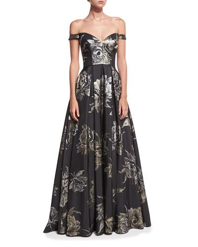 Sweetheart Off-the-Shoulder Metallic Brocade Evening Gown