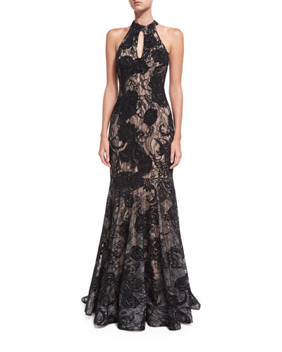 Floral Embellished Sleeveless Halter Evening Gown