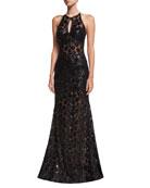 Embellished Lace Halter Evening Gown