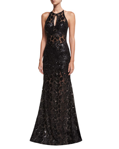 Embellished Lace Halter Evening Gown