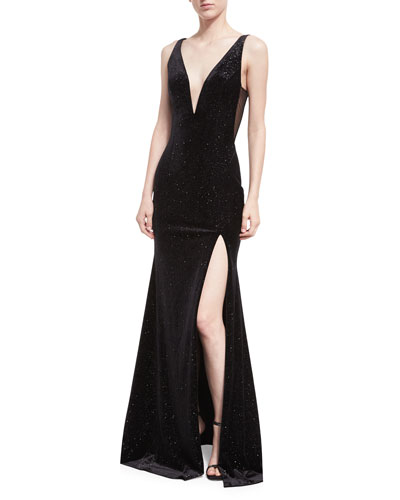 Deep V-Neck Studded Sleeveless Velvet Gown