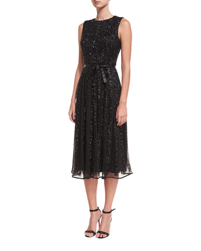 Jewel-Neck Sleeveless Sequin Cocktail Dress