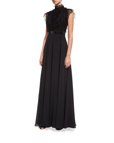 Mock-Neck Lace Overlay Embellished Evening Gown