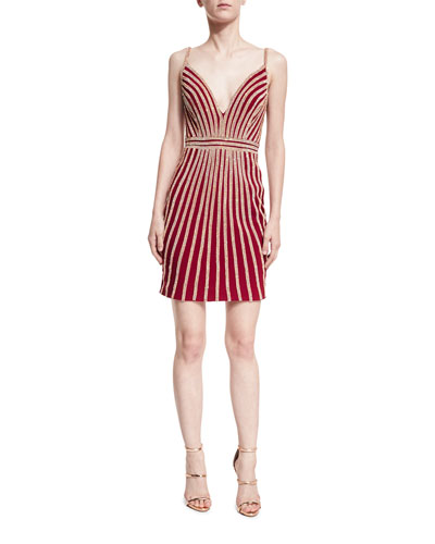 Deep-V Sleeveless Beaded Striped Cocktail Dress