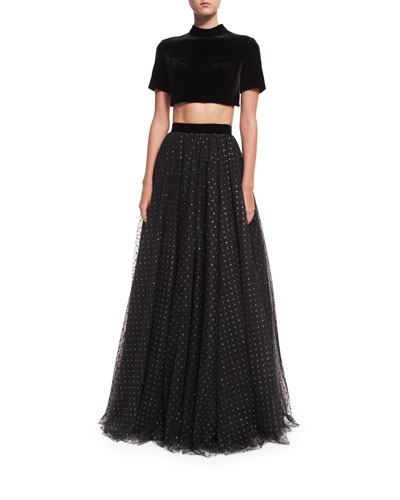 Two-Piece Velvet Top w/ Tulle Ball Skirt