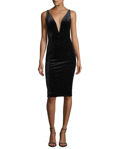 Sleeveless Studded Velvet Cocktail Dress