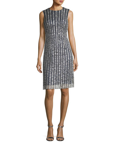 Striped Sequin Sleeveless Cocktail Dress
