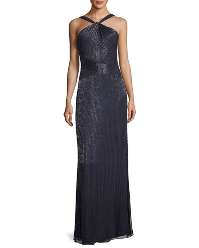 Lara Halter Sleeveless Beaded Evening Gown