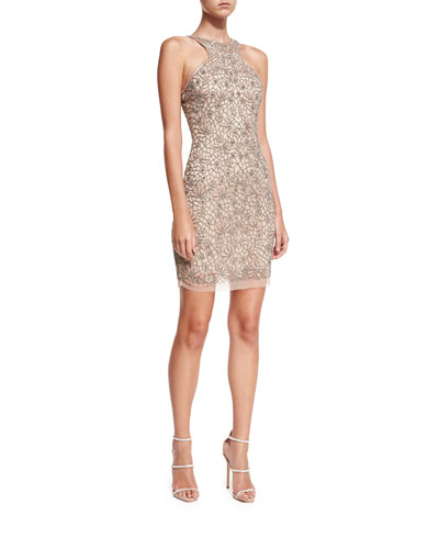Caprice High-Neck Sleeveless Cocktail Dress