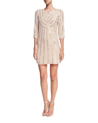Petra 3/4-Sleeve Beaded Sequin Cocktail Dress