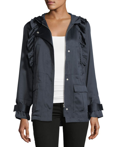 Ramius Zip-Front Hooded Satin Jacket