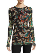 Long-Sleeve Embroidered Butterfly-Print Top